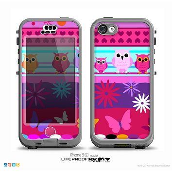 The Bright Pink Cartoon Owls with Flowers and Butterflies Skin for the iPhone 5c nüüd LifeProof Case