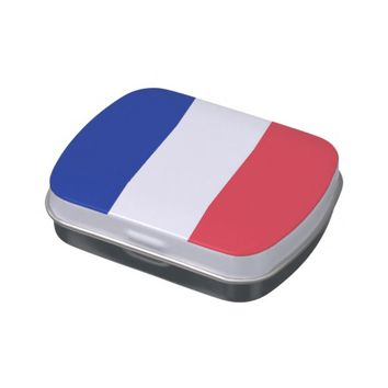 Patriotic candy tins with Flag of France
