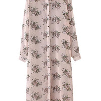 Multicolor Buttons Front Flowers Print Chiffon Shirt Dress