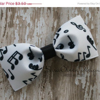 ON SALE Tuxedo Hair Clip, Musical Notes Bow, Black White, Simple Bow Tie Hairbow, Toddler Hairbow, 3 Inch Bow, Girls Hairbow, Hair Accessor