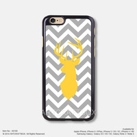 Gray Chevron Yellow deer Free Shipping iPhone 6 6Plus case iPhone 5s case iPhone 5C case 188