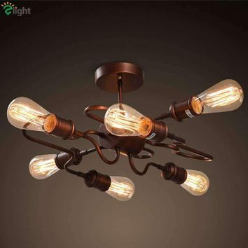 American Retro Industrial E27 Led Chandeliers Lustre Rust Metal Loft Led Ceiling Chandelier Lighting Bedroom Led Chandelier Lamp