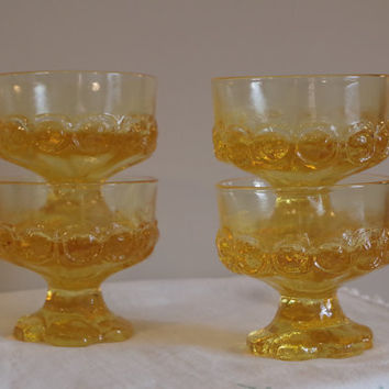 Tiffin Corn Silk Sherbet Glasses- Set of 4 Vintage Franciscan Madeira Goblets- Yellow Footed Compotes