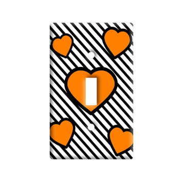 Love Cute Hearts Orange Black Stripes Light Switch Plate Cover
