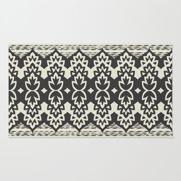 Bohemia-Black & Cream Area & Throw Rug by Bohemian Gypsy Jane | Society6