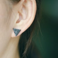 Punk Black White Marble Faux Stone Geometric Stud Earrings