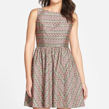 Women's Adrianna Papell Stripe Jacquard Fit & Flare Dress,