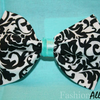 Black and White Damask Bow with Tiffany Blue Finish - Clip on Hair Bow