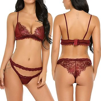 Women Sexy Lingerie Babydoll Lace Bra and Panty Set Nightwear