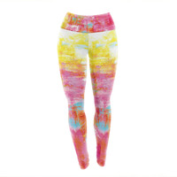 "Ebi Emporium ""Off The Grid III"" Pink Yellow Yoga Leggings"