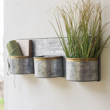 3 Zinc Horizontal Wall Planters with Brass Rim