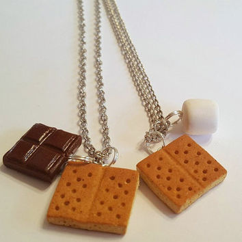 Best Friends S'Mores Pendants, Polymer Clay Food Jewelry, BFF Necklaces