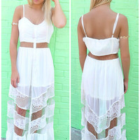 Port Angeles Ivory Sheer Cut Out Ruffle Maxi Dress