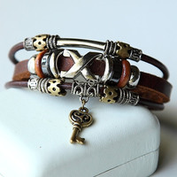 Hand-woven fashion brown genuine leather bracelet with multiple beads BY37