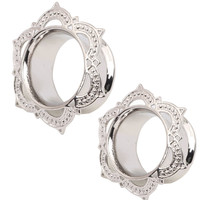 2 PCS Lotus Petal White Anti-Silver Ear Tunnel Plug Eyelets Ear Gauge Ear Plug Earrings Gauges Body Piercing Jewellery  6-16mm