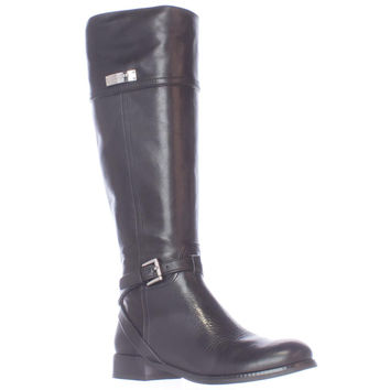 Coach Micha Buckle Strap Riding Boots, Black, 5.5 US