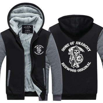 Sons of Anarchy Samcro Jax Winter Thick Hoodie Fleece Sweatshirt Hoodie Coat Pullover US EU Size Plus Size