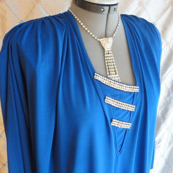 ON SALE 80s Dress // Vintage 1980s Royal Blue Caftan Dress with Rhinestones by Oscar de la Renta for Swirl Size M L Xl