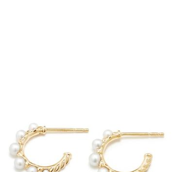 David Yurman Petite Perle Graduated Pearl Hoop Earrings in 18K Gold | Nordstrom