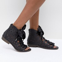 Free People Palms Lace Up Sandals with Ribbon Tie at asos.com