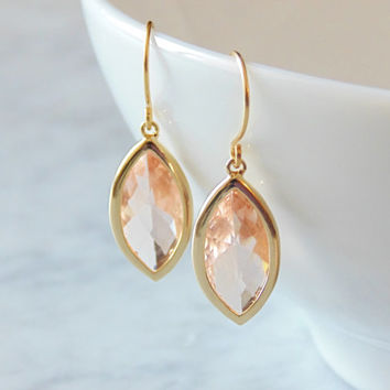 Champagne peach blush marquise glass gold dangle drop earrings.  French wires.  Bridal earrings.  Bridesmaids earrings. Wedding jewelry. NEW