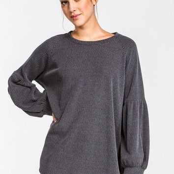 Puff Sleeve Top - Charcoal