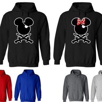 Mickey Minnie Pirate Couple Matching Love Set Solid Color Hoodie