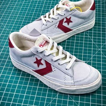PEAP2Q Converse Canvas Chevronstar Ox Grey White Red Shoes