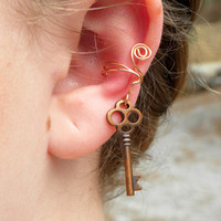 Steampunk Key Ear Wrap Non Piercing
