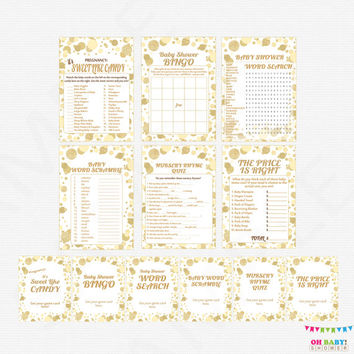 Gold Baby Shower Games Bundle, games pack, baby shower game pack, printable baby shower games girl boy sign INSTANT DOWNLOAD CB0003-g