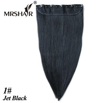 "MRSHAIR 1# Clip In Hair Extensions Black 1pc Human Hair Straight On Clip Real Hair Pieces 18"" 22"" Brazilian Clip In Human Hair"