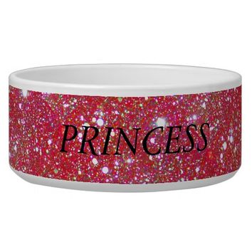 Red Sparkle Personalized Pet Food Water Bowl