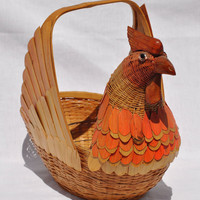 Vintage Rooster Basket Folk Art Retro Woven