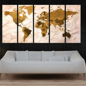 large Push Pin world map wall art canvas print, world travel map push pin, abstract wall art, map with country name, large canvas art 9S25