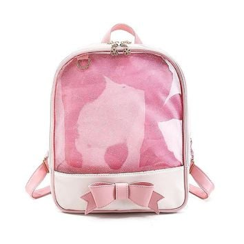 ximier 2017 Summer Candy Clear Bow Backpacks Solid Color Cute Girls School Bags for Girls Transparent PU Leather Women Backpack