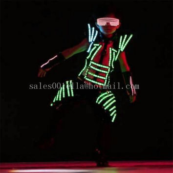 LED Luminous Robot Suit Clothes Party Dress Costumes