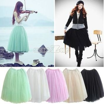 S0BZ Hot Women Fashion Princess Fairy Style 5 layers Tulle Dress Bouffant Skirt