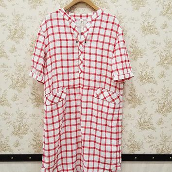 Red and White Short sleeve printed check linen mini dress