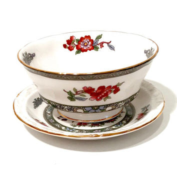 Paragon Sugar Bowl Coaster Set, Tree Of Kashmir, Exotic Floral, English Bone China, Scalloped Gold Trim, Open Sugar Bowl, Vintage 1960s