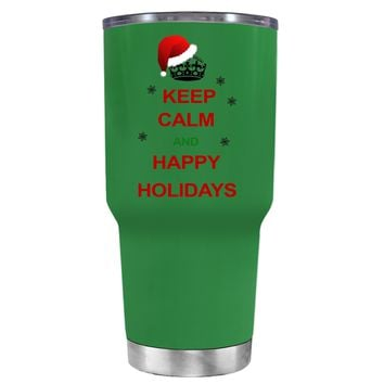 TREK Keep Calm and Happy Holidays on Kelly Green 30 oz Tumbler Cup