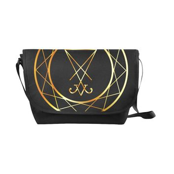 Symbol Of Satanism Black Nylon Cross Body Bag