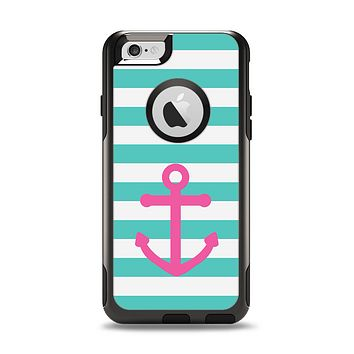 The Teal Striped Pink Anchor Apple iPhone 6 Otterbox Commuter Case Skin Set