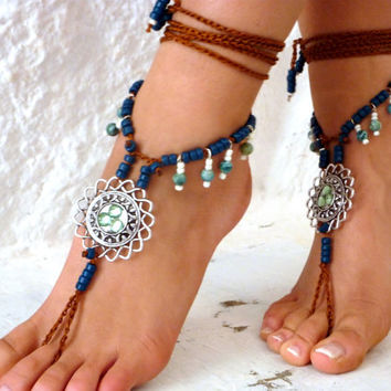 PROMO SALE Barefoot Sandals Barefoot Beach Jewelry Blue turquiose Seashells Hippie Sandals Foot Jewelry Toe Thong