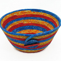 Coiled Fabric Bowl, Basket, Primary Colors
