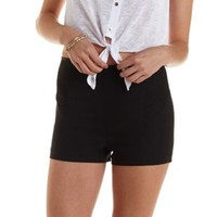 Black Lace-Trim High-Waisted Shorts by Charlotte Russe