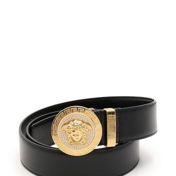 Versace VERSACE belt Medusa small leather rhinestone DCU 4954 (14778