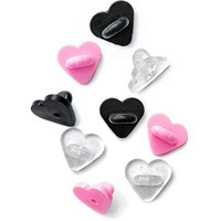 Heart-Shaped Rubber Pin Backs - Assorted (Set of 9)