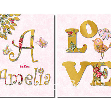 Personalized nursery wall decor kids room love decoration baby girl customized art name artwork custom typography poster bird gold pink