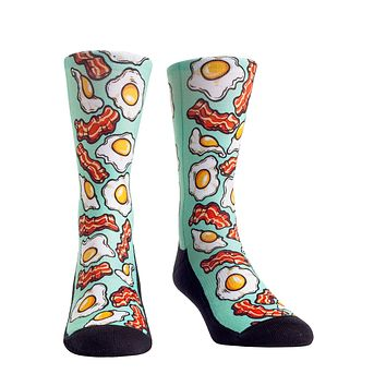 Rock Em Elite Food Buffet All Over Eggs and Bacon Crew Socks