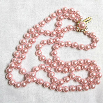 Vintage 2 Strand Pink Faux Pearl Necklace with Rhinestone Clasp signed Kissaka